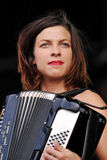 Natalia Tena. Of British band Molotov Jukebox performs during the music festival Rock for People in Hradec Kralove, Czech Republic on July 5, 2014 Stock Photo