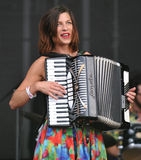 Natalia Tena. Of British band Molotov Jukebox performs during the music festival Rock for People in Hradec Kralove, Czech Republic on July 5, 2014 Stock Image