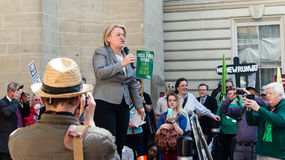 Natalie Bennett B Green Party Leader speaks to the protesters in Royalty Free Stock Photo