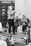 Natalie Bennett C Green Party Leader speaks to the protesters in Stock Photo