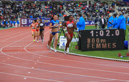 Nataliya Lupu and Chanelle Price on the 800 meters race Stock Photos