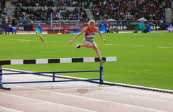 Natalya Aristarkhova from Russia COMPETE on the 3000 meters steeple on DecaNation International Outdoor Games Royalty Free Stock Photos