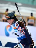 Natalya Eremych konkurriert in regionaler Schale IBU in Sochi Lizenzfreies Stockbild