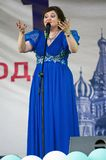 Natalya Korostelyova sing a song on Day of the Moscow city event. PODOLSK, RUSSIA - SEPTEMBER 9, 2018: Natalya Korostelyova sing a song on Day of the Moscow city stock photography