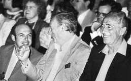 Natan Sharansky, Yves Montand, and Shimon Peres Stock Photos