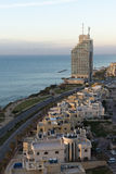 Natanya plaży linia w zmierzchu Obrazy Royalty Free