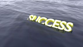 Natação amarela do sucesso da palavra no naufrágio do oceano Fotos de Stock Royalty Free