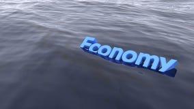 A natação azul da economia da palavra no oceano Fotografia de Stock
