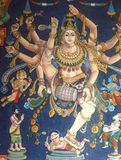Dancing God. Nataraja mural in a Shiva temple, South stock photo