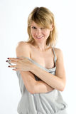 Natasha. Young attractive woman in studio over white background Royalty Free Stock Image
