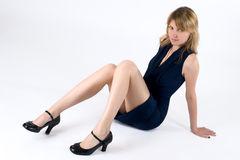 Natasha. Young attractive woman in dark blue dress Stock Photo