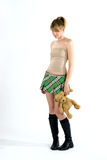 Natasha. Young shy attractive girl with her toy Stock Images