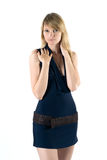 Natasha. Young attractive woman standing in dark blue dress Stock Images