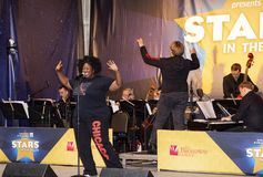 Natasha Yvette Williams at 2019 Stars in the Alley. Actress Natasha Yvette Williams belts out `When You`re Good to Mama` from `Chicago,` at Stars in the Alley, a stock photos