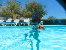 Natation à la piscine Photos stock