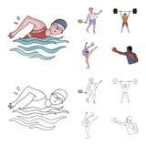 Natation, badminton, haltérophilie, gymnastique artistique Icônes réglées de collection de sport olympique dans la bande dessinée illustration libre de droits