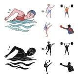 Natation, badminton, haltérophilie, gymnastique artistique Icônes réglées de collection de sport olympique dans la bande dessinée illustration de vecteur