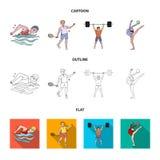 Natation, badminton, haltérophilie, gymnastique artistique Icônes réglées de collection de sport olympique dans la bande dessinée illustration stock