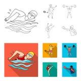Natation, badminton, haltérophilie, gymnastique artistique Icônes réglées de collection de sport olympique dans le contour, vecte illustration de vecteur