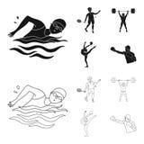 Natation, badminton, haltérophilie, gymnastique artistique Icônes réglées de collection de sport olympique dans le noir, style d' illustration de vecteur