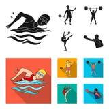 Natation, badminton, haltérophilie, gymnastique artistique Icônes réglées de collection de sport olympique dans le vecteur noir e illustration libre de droits