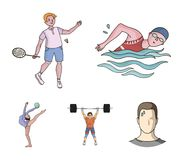 Natation, badminton, haltérophilie, gymnastique artistique Icônes réglées de collection de sport olympique dans le vecteur de sty illustration libre de droits