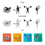 Natation, badminton, haltérophilie, gymnastique artistique Icônes réglées de collection de sport olympique dans noir, plat, monoc illustration de vecteur
