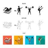 Natation, badminton, haltérophilie, gymnastique artistique Icônes réglées de collection de sport olympique dans noir, plat, style illustration libre de droits