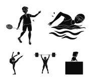 Natation, badminton, haltérophilie, gymnastique artistique Les icônes réglées de collection de sport olympique dans le style noir illustration libre de droits