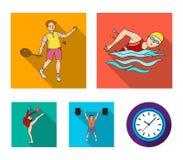 Natation, badminton, haltérophilie, gymnastique artistique Les icônes réglées de collection de sport olympique dans le style plat illustration stock