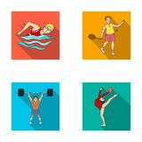 Natation, badminton, haltérophilie, gymnastique artistique Les icônes réglées de collection de sport olympique dans le style plat illustration libre de droits