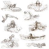 natation Collection tirée par la main Croquis originaux Image stock