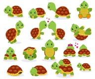 Natation de caractère de seaturtle de bande dessinée de vecteur de tortue dans la mer et la tortue de sommeil dans l'ensemble d'i illustration de vecteur