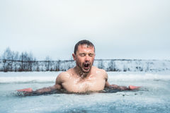 Natation de trou de glace photo stock