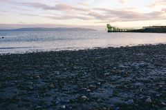 Natation extérieure unique par la mer dans la plage de blackrock de baie de Galway photographie stock libre de droits
