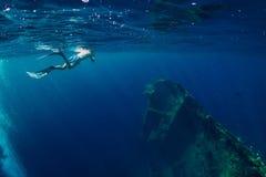 Natation libre d'homme de plongeur en mer près de naufrage dans Bali photos libres de droits