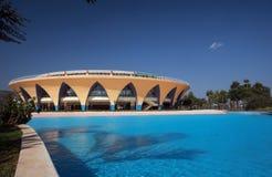 Natatorium. A modern natatorium under the blue sky Stock Image