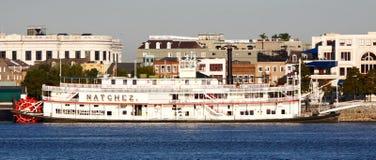 natchez新奥尔良汽船江边 库存图片