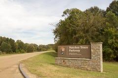 Natchez śladu Parkway Południowy Terminus obrazy stock
