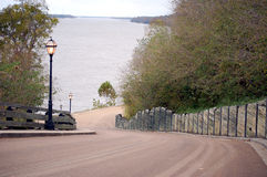 Natchez Lane. Looking down a lane leading toward the Mississippi River in Natchez, LA Stock Image