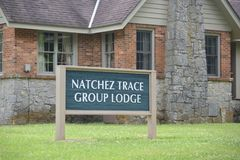 Natchez Trace Group Lodge Sign Lizenzfreie Stockbilder