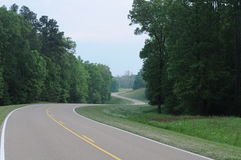 Natchez Trace Roadway. Traveling the peaceful green 400 miles plus Natchez Trace stock photo
