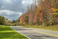 Natchez Trace Parkway in fall colors. A highway of Natchez Trace Parkway in Tennessee, fall colors in late October stock photos