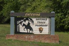 Natchez Trace Sign, Mitgliedstaat Lizenzfreies Stockfoto