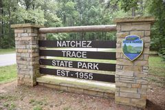 Natchez Trace State Park Established 1955. Is located in western Tennessee. It was named for the Natchez Trace woodland path that was an important wilderness stock images