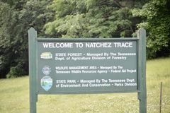 Natchez Trace State Park Welcome Sign Stockbild