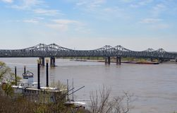 Natchez-Vidalia Bridge. This is a Spring picture of the twin cantilever bridges over the Mississippi River between Natchez, Mississippi and Vidalia, Louisiana Royalty Free Stock Image