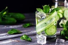 Natchnący ogórkowy napój z mennicą Detox woda zdjęcie stock