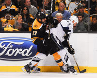 Nate Thompson and Milan Lucic collide Stock Photo
