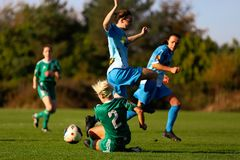 Nathalie Oâ €™Brien durante a harmonia de liga nacional das mulheres entre as mulheres de Cork City FC e o Peamount unidos imagem de stock